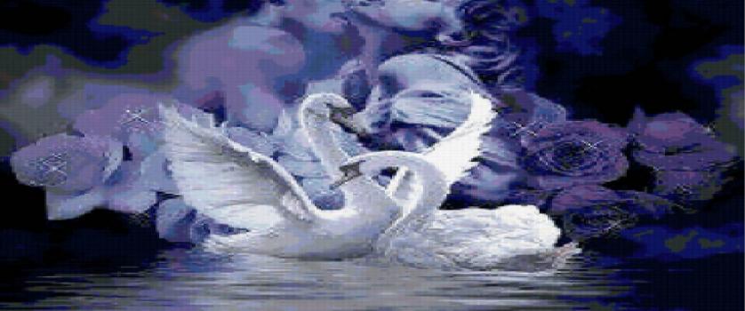 Вышивка крестом.схема «Лебеди»
