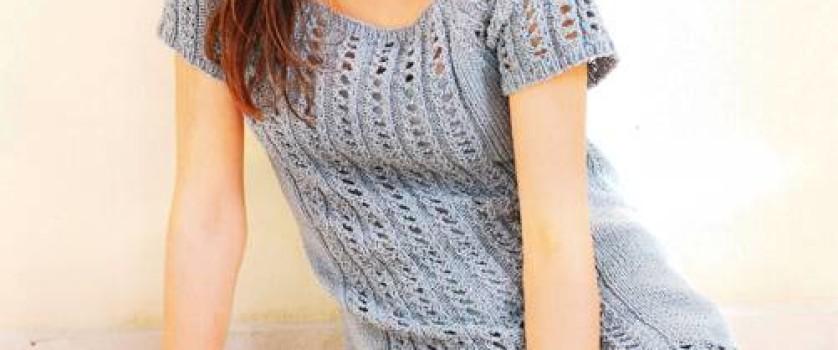 Длинный пуловер с коротким рукавом