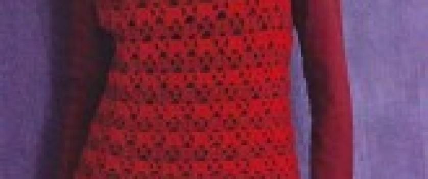 Ажурное платье красного цвета
