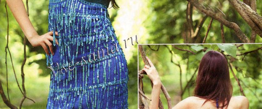 Платье крючком «бирюзовый дождь»
