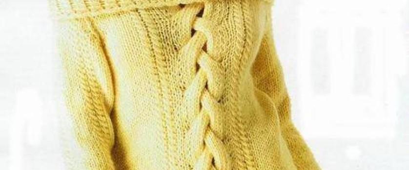 Длинный пуловер с косой