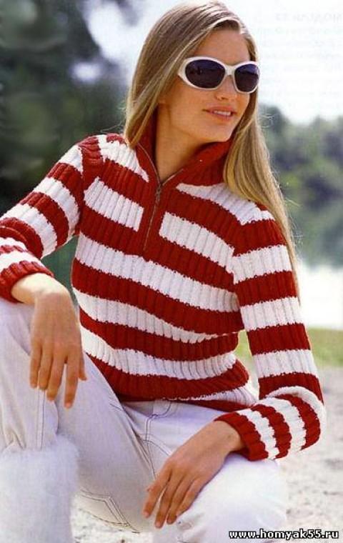 Пуловер в резинку с воротником поло</div><!-- .featured-header-image -->  <div class=
