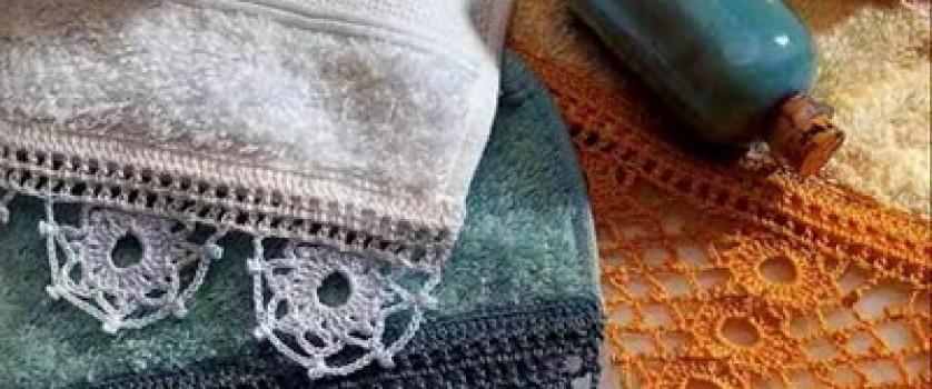 Махровые полотенца с кружевом и монограммой