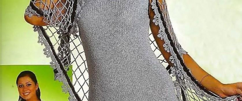 Строгое платье-сарафан и воздушная шаль