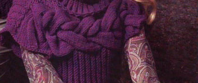 Короткий пуловер с крупными косами