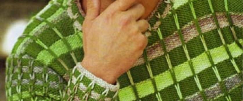 Пуловер с полосками из длинных петель