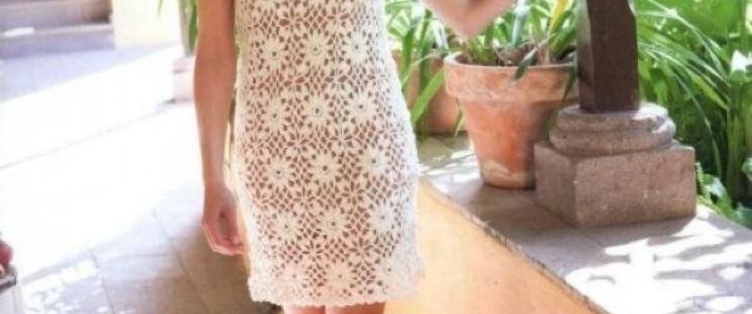 Ажурное летнее платье «Пудровые цветы»
