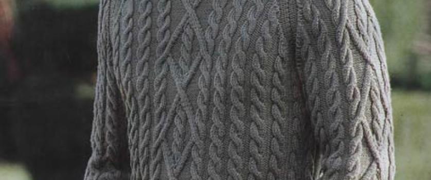 Мужской пуловер с косой