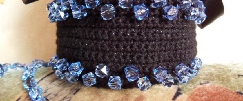 Вязаная сумка Голубые стразы