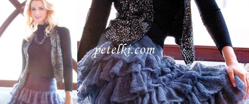 Длинная кружевная юбка из мохера с оборками
