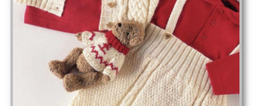 Жакетик и штанишки на лямках, с рельефным узором. Размеры: 68/74 (86/92)