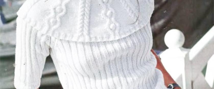 Пуловер с рельефным воротником