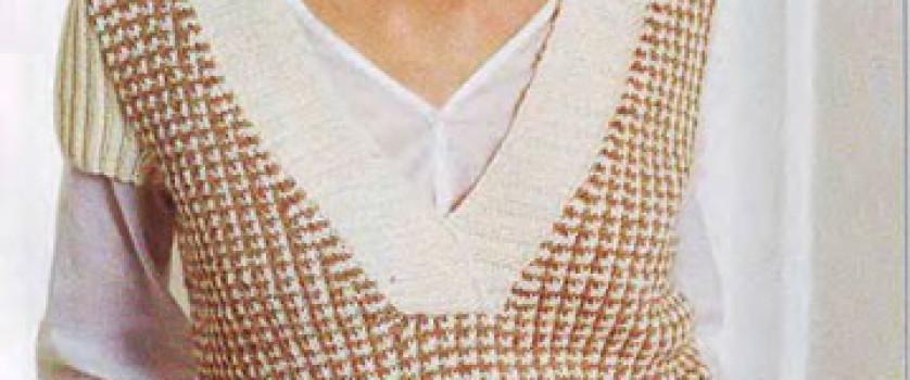 Пуловер с короткими рукавами с узором »куриная лапка»