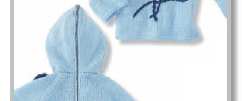 Джемперок с капюшоном, вышивкой и на молнии по спинке