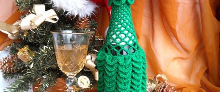 Вязаный чехол на Новогоднее шампанское