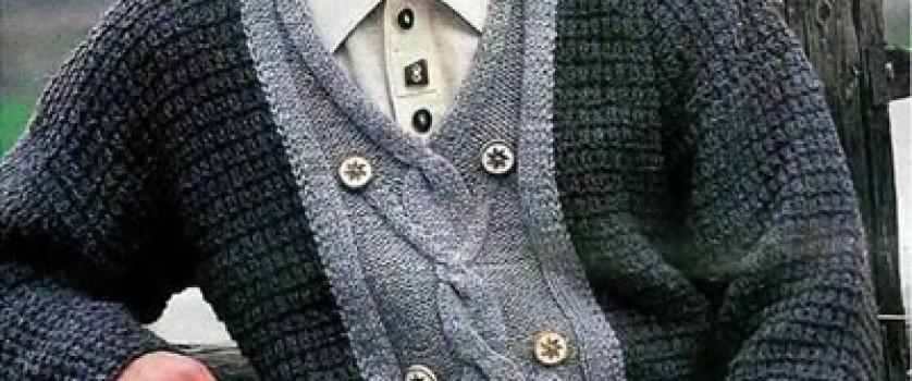 Двухцветный пуловер V-образным вырезом горловины