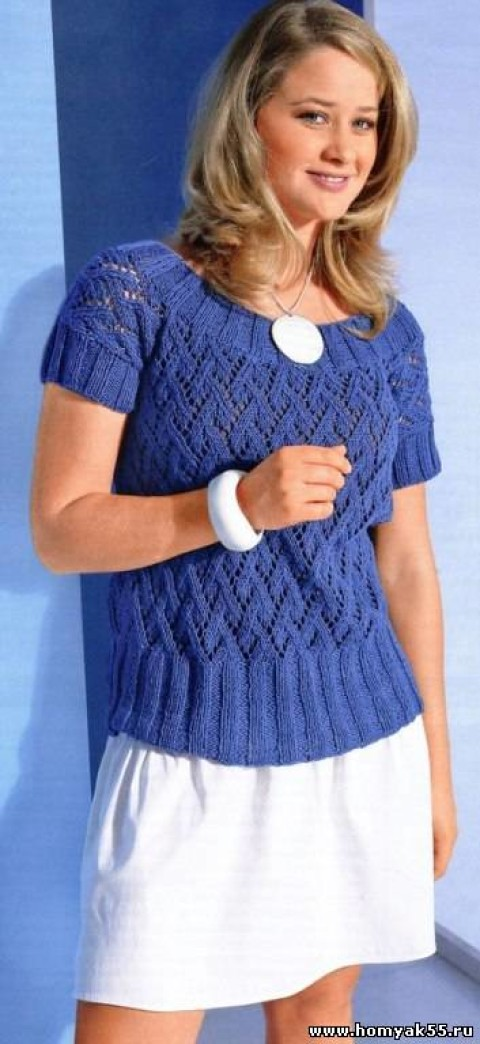 Синий пуловер с коротким рукавом</div><!-- .featured-header-image -->  <div class=
