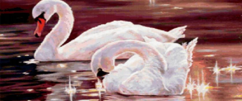 Вышивка крестом.схема «лебединая верность»