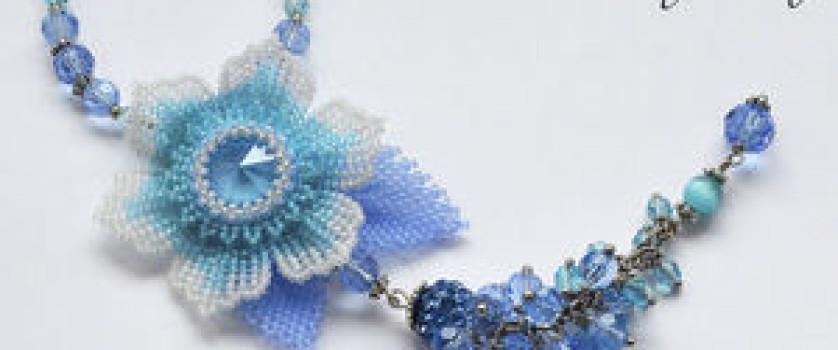 Колье с цветком «Summer Blue»