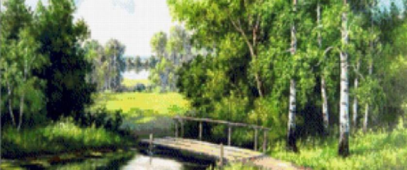 Вышивка крестом.схема «Мостик в лесу»