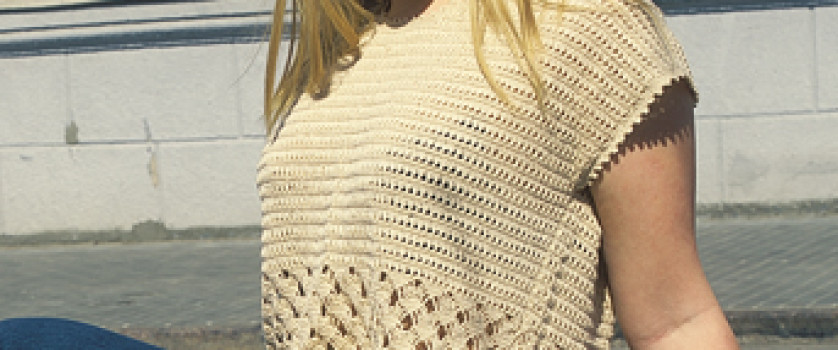 Ажурный пуловер без рукавов