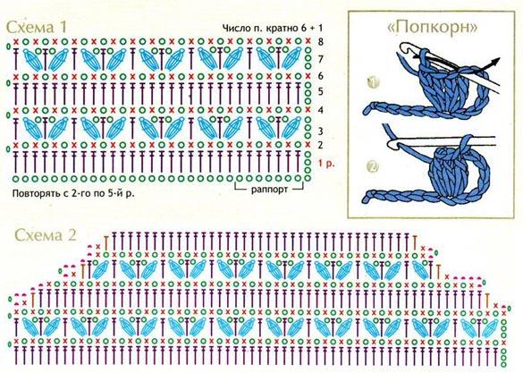 Схема вязание крючком попкорн