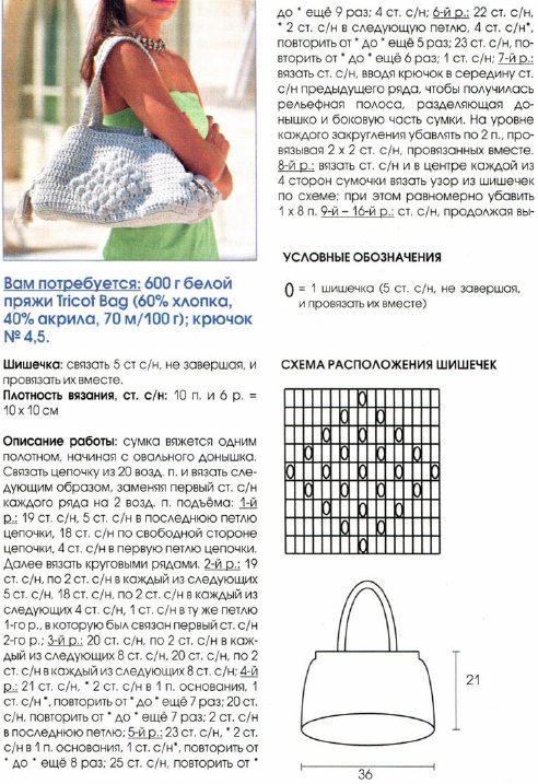Вязание крючком схемы и модели сумки