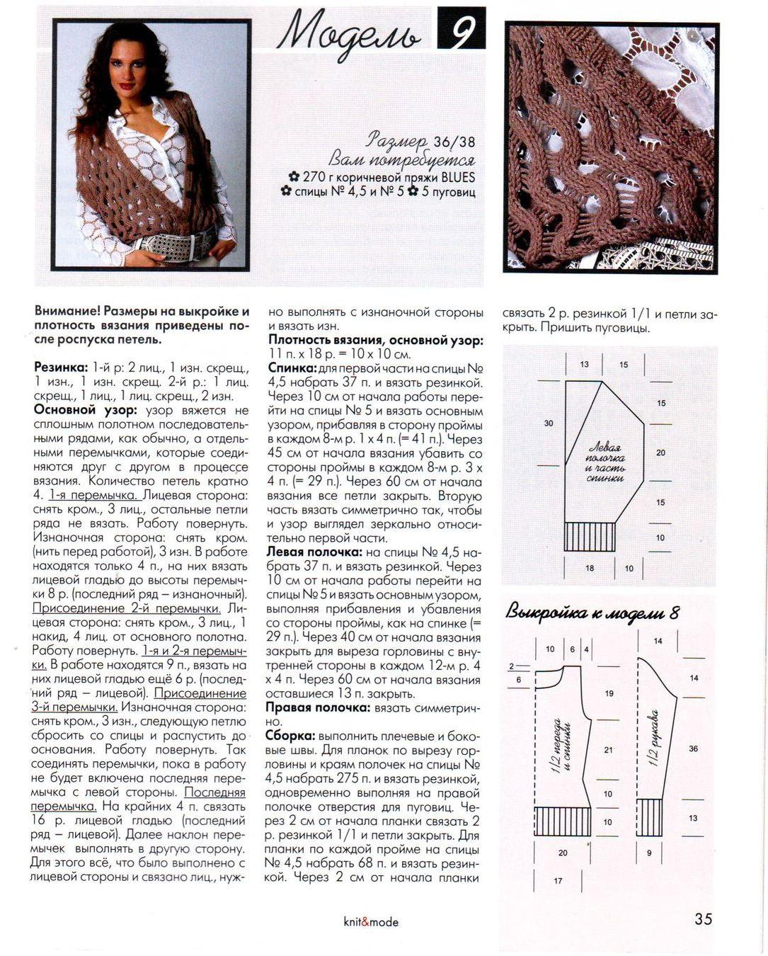 Модные схемы вязания жилетов спицами