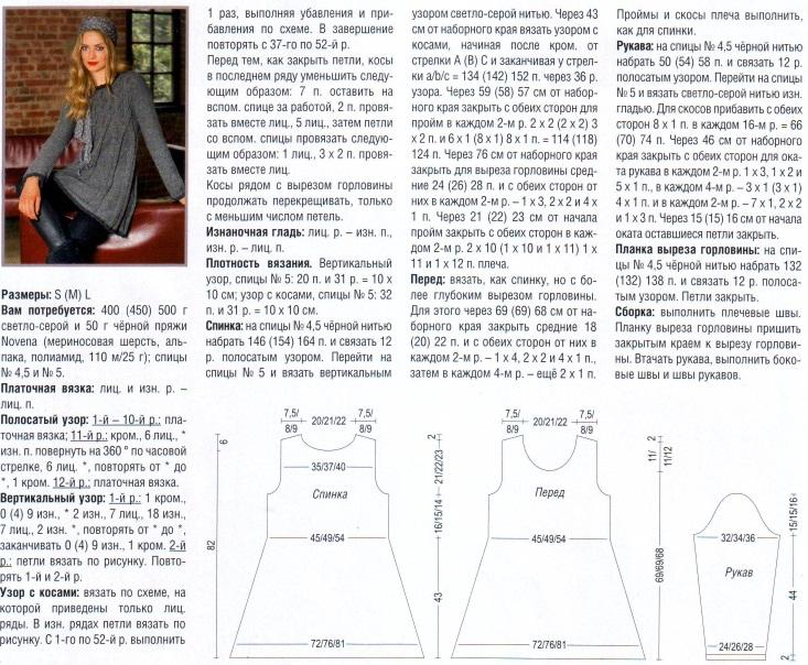 Туника спицами описание схемы вязания для полных