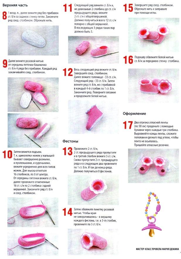Пинетки вязание спицами схемы для новорожденных