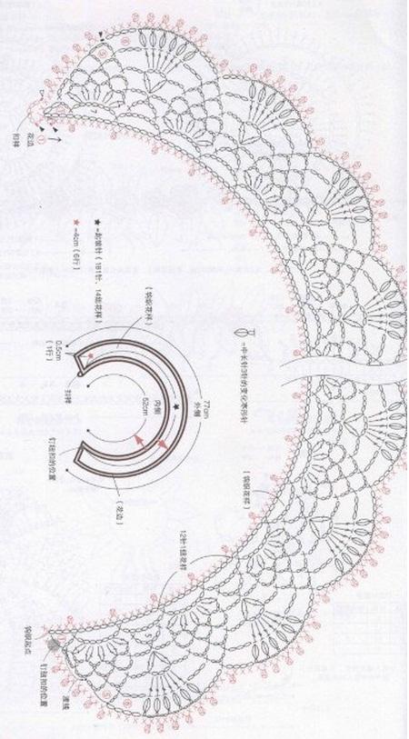 Схема вязания воротника и манжет крючком
